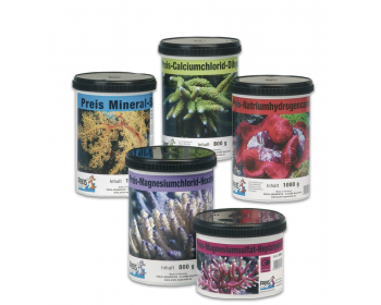 Preis-sodium bicarbonate and Preis-calcium chloride dihydrate are extremely pure, fast-dissolving special salts in the highest level of purity, for maintaining calcium levels in a reef aquarium.